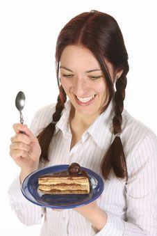 Beautiful Woman Eating Piece Of Cake Stock Photos