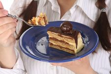 Free Piece Of Cake With Chocolate Stock Image - 13805021