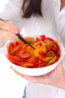 Free Chopsticks, Bowl And Peppers Royalty Free Stock Images - 13805069