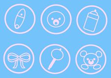 Free Baby Icons_Blue Stock Photography - 13805142