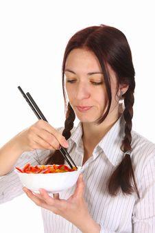 Free Beautiful Woman Eating With Chopsticks Stock Photos - 13805153
