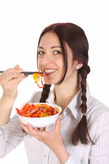 Free Beautiful Woman Eating With Chopsticks Stock Image - 13805211