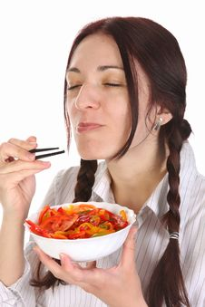 Free Beautiful Woman Eating With Chopsticks Royalty Free Stock Photos - 13805308