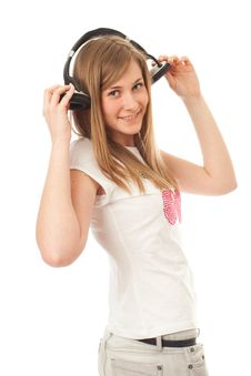 Free The Young Beautiful Girl With Headphones Stock Photography - 13805392