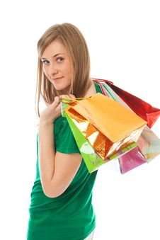 Free The Beautiful Girl With Packages Royalty Free Stock Photo - 13805405