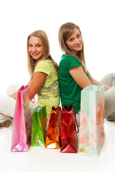 Free Two Beautiful Girls With Packages Royalty Free Stock Photo - 13805425