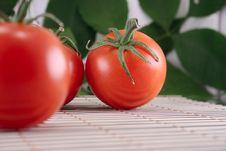 Free Tomato On Bamboo Striped Napkin Royalty Free Stock Photo - 13805515