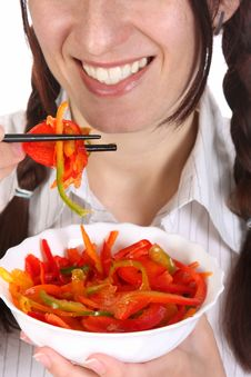Free Beautiful Woman Eating With Chopsticks Stock Image - 13805521