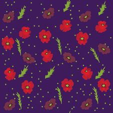 Seamless Pattern With  Poppies Stock Image
