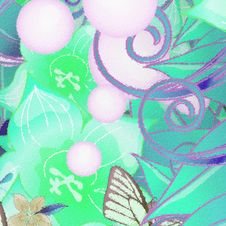 Free Green Floral Pattern Royalty Free Stock Photos - 13806488
