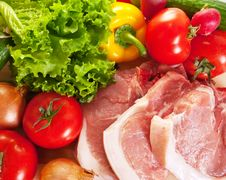 Free Raw Pork And Vegetables Stock Photo - 13806660