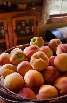 A Basket Full Of Peaches Sitting On Counter Stock Image