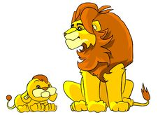 Free Father Lion And His Little Son Stock Photos - 13808403