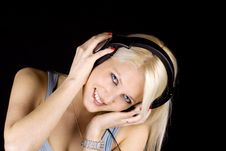 Free Blond Girl With Headphones Stock Images - 13808534
