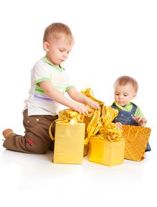 Free Two Boys With Gifts Royalty Free Stock Photo - 13808835
