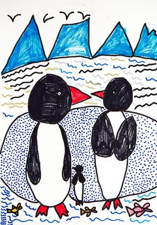 Family Of Penguins Royalty Free Stock Photo