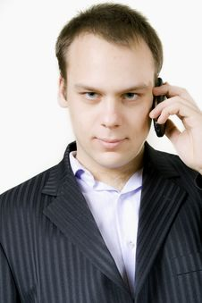 Free Young Businessman On A Telephone Royalty Free Stock Images - 13809749