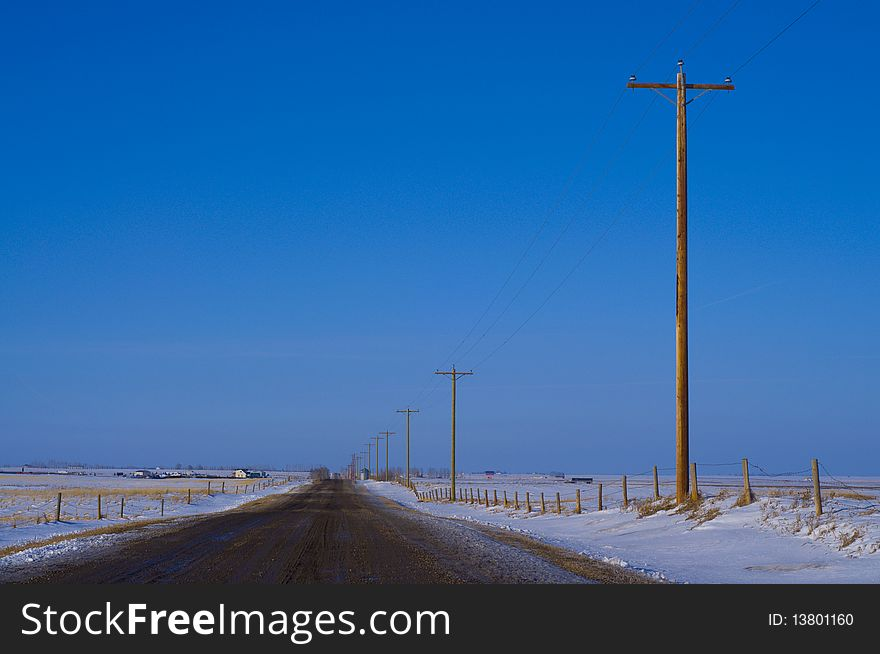 Country Road with electric poles