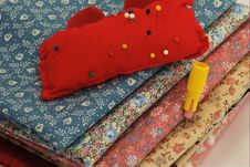 Fabric, Pincushion, And Chalk Stock Image