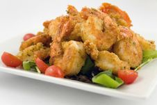 Free Fried Shrimp With Mixed Field Greens Royalty Free Stock Image - 13810636