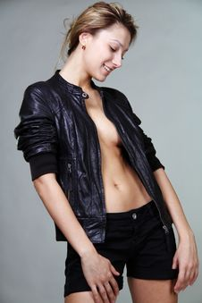 Free Girl In A Leather Jacket Royalty Free Stock Photo - 13811105