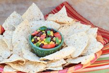 Free Black Bean Salad With Corn Chips Royalty Free Stock Photography - 13812767