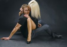 She Is On Him Stock Image