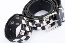 Free Black Leather Belt With Chrome Studs Royalty Free Stock Photography - 13813007