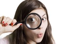 Free Looking Through Magnifying Stock Photography - 13813382