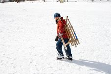 Free Young Boy Carries The Sledge Royalty Free Stock Photo - 13815275