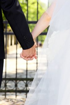Free Newlywed Couple Holding Hands. Stock Photography - 13815612