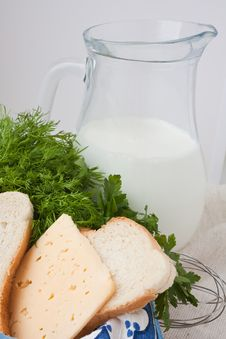 Milk, Cheese, Bread  With A Jug Of Milk Stock Images
