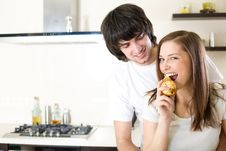 Free Beautiful Girl With Pear And Boy Stock Photo - 13815910