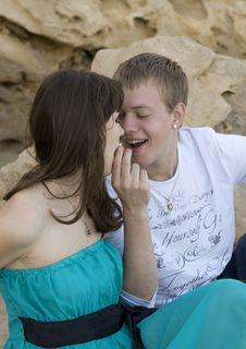 Free Couple Enjoying Themselves On The Beach Royalty Free Stock Photography - 13816067