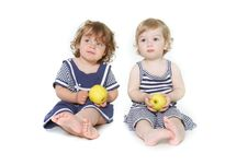 Free Two Toddler Girls With Green Apples Stock Images - 13817134