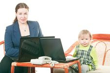 Daughter And Mother With Laptops Royalty Free Stock Images