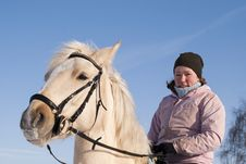 Free Young Girl On Horseback Of The White Horse Stock Photo - 13819710