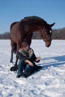 Yoing Girl And Her Horse In Winter Stock Photography