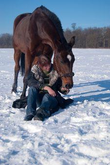 Free Girl Feeding Her Horse Royalty Free Stock Photo - 13819795