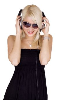 Free Blond Girl Listening To Music Stock Image - 13819891