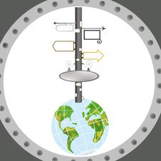 Earth In Porthole. Royalty Free Stock Image
