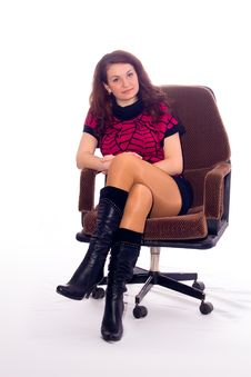 Free Girl On Armchair Stock Image - 13821311
