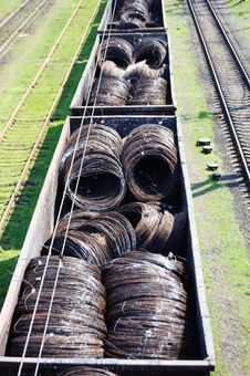 Free Railway Cars Loaded With Wire Stock Photo - 13821420