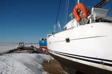 Small Frozen Harbor Royalty Free Stock Photography