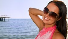 Young  Woman At The Beach Royalty Free Stock Image