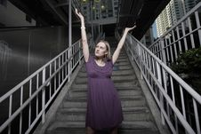 Free Woman With Arms Outstretched Royalty Free Stock Photography - 13823147