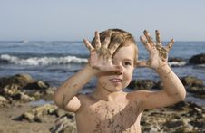 Free Boy At The Beach Playing With Sand Stock Photos - 13823253