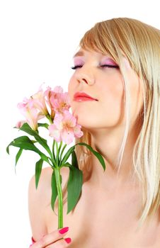 Free Portrait Of A Woman Holding Pink Flowers Royalty Free Stock Photo - 13823435