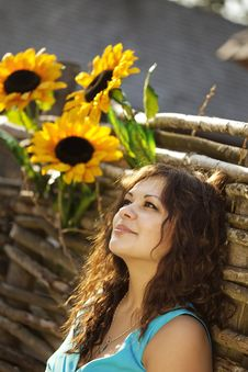 Girl In The Countryside With Sunflowers Stock Image