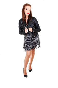 Girl In Black Dress And Leather Jacket. Stock Image